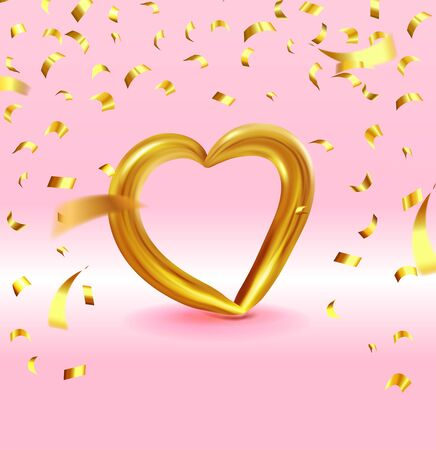 Realistic Gold metallic Heart with falling golden confetti. Vector Valentines heart on pink background. Vector illustration EPS 10