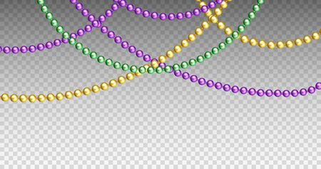 Vector illustration of Mardi Gras beads in traditional colors. Decorative glossy realistic elements for design Mardi Gras. Beads Isolated on transparent background. Ilustracja