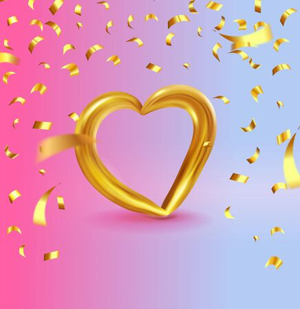 Realistic Gold metallic Heart with falling golden confetti. Vector Valentines heart on modern color gradient background. Vector illustration