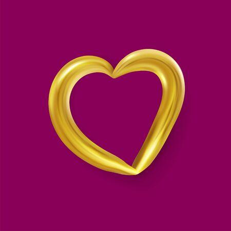 Realistic Gold metallic Heart . Vector Valentines heart. Vector illustration