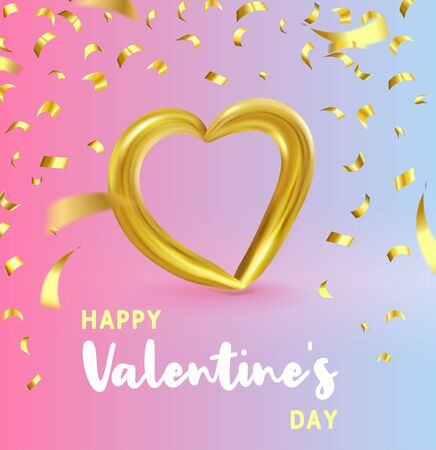 Realistic Gold metallic Heart with falling golden confetti. Vector Valentines heart on modern color gradient background. Vector illustration EPS 10