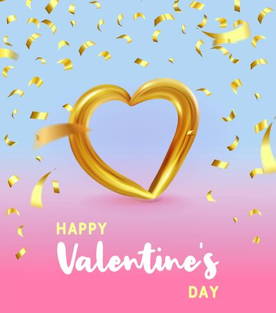 Realistic Gold metallic Heart with falling golden confetti and. Vector Valentines heart on modern color gradient background. Vector illustration EPS 10