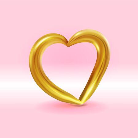 Realistic Gold metallic Heart . Vector Valentines heart on pink background. Vector illustration EPS10 Ilustracja