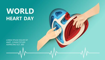 World Heart Day concept. Layered paper cut relief with World Heart Day label. Man holds out a helping hand. Two hands reaching for each other. Flat-style vector illustration with heartbeat line.