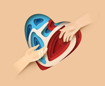 World Heart Day concept. Layered paper cut relief with World Heart Day label. Man holds out a helping hand. Two hands reaching for each other. Flat-style vector illustration. Ilustracja