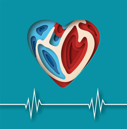 World Heart Day concept. Layered paper cut relief with World Heart Day label. Flat-style vector illustration with heartbeat line.