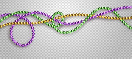 Vector illustration of Mardi Gras beads in traditional colors. Decorative glossy realistic elements for design Mardi Gras. Beads Isolated on transparent background. Zdjęcie Seryjne