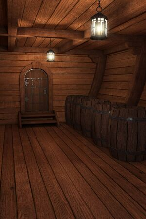 Inside old ship. Hold or cabin of a ship background. 3d illustration of pirate cabin. -3d rendering. - Zdjęcie Seryjne - 139707786