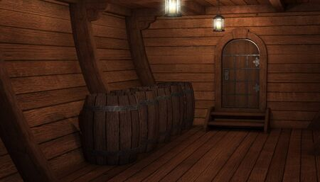 Inside old ship. Hold or cabin of a ship background. 3d illustration of pirate cabin.