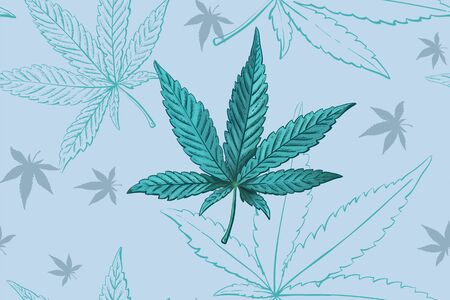 Seamless pattern of cannabis leaves. Pattern of blue or turquoise marijuana leaf.