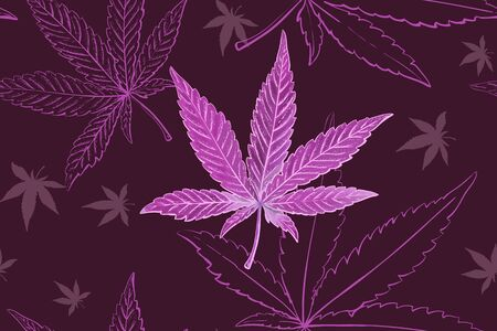 Seamless pattern of cannabis leaves. Pattern of pink or lilac marijuana leaf.