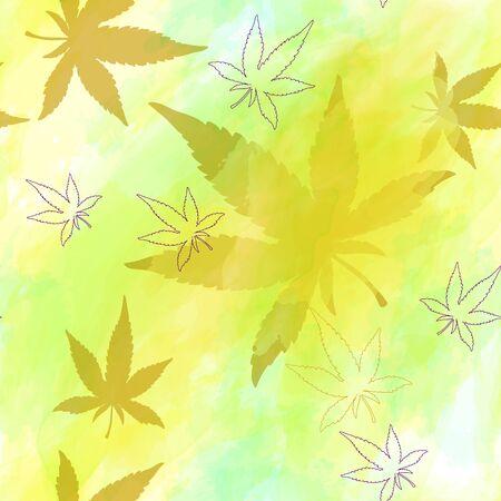 Seamless pattern of cannabis leaves. Watercolor pattern of yellow or orange marijuana leaf.