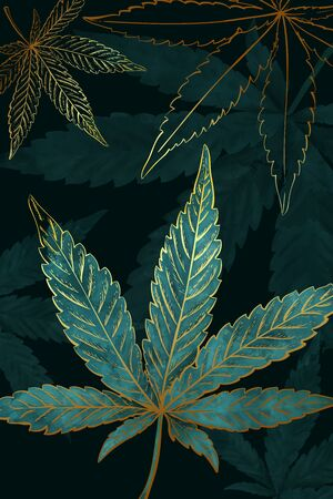 Beautiful pattern of gold turquoise cannabis leaves. Pattern of turquoise or green marijuana leaf on black background. Modern illustration in vintage hand draw style. Ilustracja