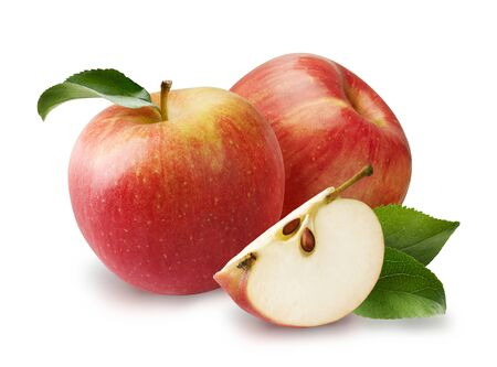 Beautiful two red apples with apple leaves and apple slice isolated on white background.