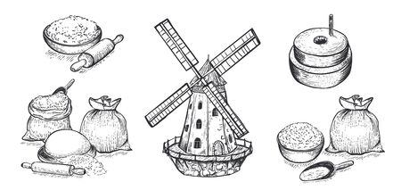 Set of flour, hand mill, windmill, wheat, grain, ingredients. Hand drawn vector illustration. Engraving style. Big set.