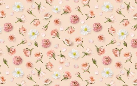 Vintage Floral pattern made of beige flowers and rosebuds. Valentines banner background. Flower background. Warm pattern of flowers. Flowers pattern texture. Flat lay, top view. Happy Mothers Day.