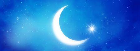 Islamic Greeting Cards for Muslim Holidays. Ramadan Kareem background. Blue banner with moon. Stock Photo
