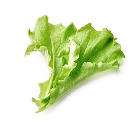 Salad leaf isolated on white background. Top view of Lettuce leaves. Banque d'images