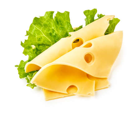 Cheese slices with salad leaves isolated on white background. Maasdam cheese. Stock fotó