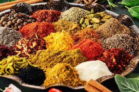 Various spice and dried herbs.