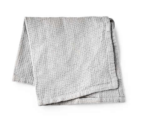 Kitchen grey folded table cloth isolated on white background. Top view of napkin.