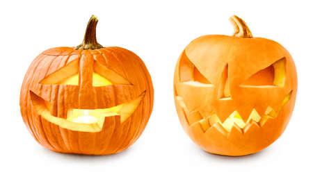 Set of Glowing Halloween Pumpkins isolated on white. Jack O' Lantern.