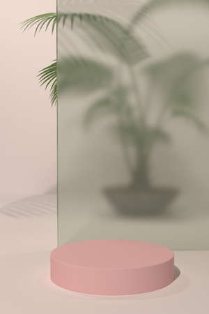 Luxury concrete scene with geometrical forms and palm leaf shadow. Cylinder podiums on pink background. Showcase, shopfront, display case and stage. 3D illustration