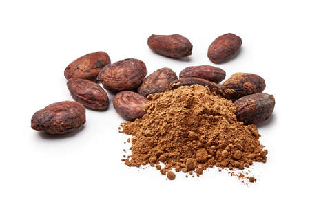 Cocoa powder and cocoa beans isolated on white