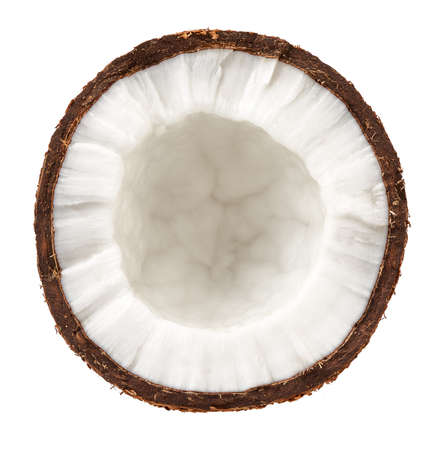Half coconut isolated on white. Top view of coconut.