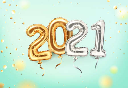 2021 golden decoration holiday on mint background. Shiny party background. Gold foil balloons numeral 2021 and confetti. Happy new year 2021 holiday. Realistic 3d vector illustration 版權商用圖片