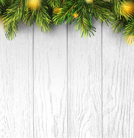 Christmas branches on white wooden board for banner design. Holiday banner with christmas lights for happy new year. Merry christmas. Holiday vector background.