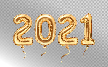 2021 golden decoration holiday on transparent background. Gold foil balloons numeral 2021. Happy new year 2021 holiday. Realistic 3d vector illustration