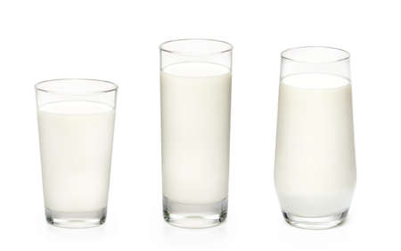 Three glasses of milk isolated on white background. Set of glasses with milk.