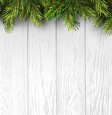 Christmas branches on white wooden board for banner design. Holiday banner happy new year. Merry christmas. Holiday vector background. 向量圖像