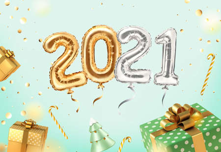 2021 golden decoration holiday on neomint background. Shiny party background with golden and green gifts. Gold foil balloons numeral 2021 and confetti. Happy new year 2021 holiday. Realistic 3d vector illustration