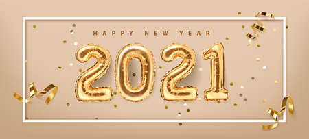 2021 golden decoration holiday on mint background. Shiny party background. Gold foil balloons numeral 2021 and confetti. Happy new year 2021 holiday. Realistic 3d vector illustration 向量圖像