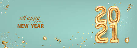 2021 golden decoration holiday on trendy background. Shiny party background. Gold foil balloons numeral 2021 with realistic festive objects, glitter gold confetti and serpentine. Happy new year 2021 holiday banner. Realistic 3d vector illustration. 向量圖像