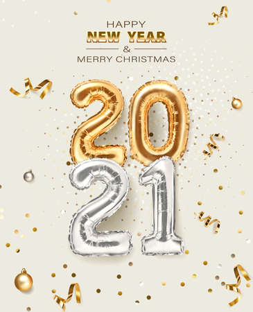 2021 golden decoration holiday on beige background. Shiny party background. Gold foil balloons numeral 2021 with realistic festive objects, glitter gold confetti and serpentine. Happy new year 2021 holiday poster. Realistic 3d vector illustration. 向量圖像