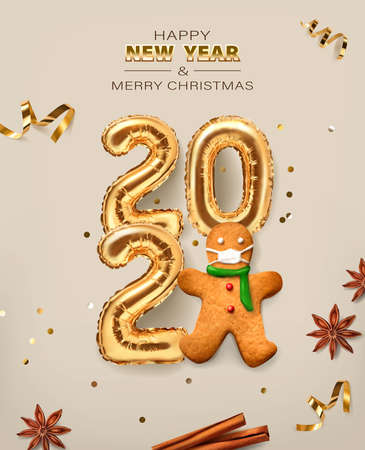 2021 golden decoration holiday and gingerbread man in face mask. Shiny party background. Gold foil balloons numeral 2021 with realistic festive objects, glitter gold confetti and serpentine. Seasonal pandemic winter holiday poster. Realistic 3d vector illustration.