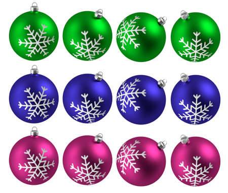 Christmas balls isolated. Assorted glass balls with snowflake. Round shape.