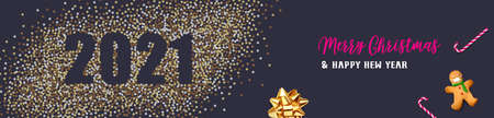 Merry Christmas and Happy New Year. Background Xmas design of Christmas caramel, realistic golden snowflakes and glitter golden confetti, bauble ball. 2021 vector illustration on dark background.