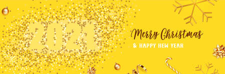 Merry Christmas and Happy New Year. Background Xmas design of Christmas caramel, realistic golden snowflakes and glitter golden confetti, bauble ball. 2021 vector illustration on yellow background.
