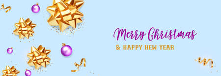 Christmas banner. Background Xmas design of realistic golden gift bows and glitter gold confetti, bauble ball on blue background. Horizontal christmas poster, greeting card, headers for website.