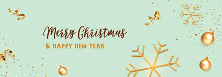 Christmas banner. Background Xmas design of realistic golden snowflakes and glitter golden confetti, bauble ball on color Tidewater green background. Horizontal christmas poster, greeting card, headers for website. Ilustração
