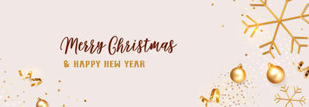 Christmas banner. Background Xmas design of realistic golden snowflakes and glitter golden confetti, bauble ball on color Champagne background. Horizontal christmas poster, greeting card, headers for website.