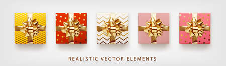 Collection of gift presents with golden foil bow. Set of 3d realistic gift boxes with pattern red, pink, yellow, white, beige colors.