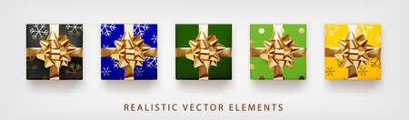 Collection of gift presents with golden foil bow. Set of 3d realistic gift boxes with pattern yellow, black, blue, green colors.