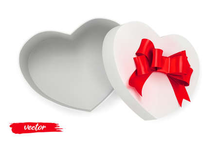 White Valentine empty Box heart with red bow on white background. Open gift box. 3d realistic vector. Romantic holiday presents Heart shape. Vector illustration. Ilustração