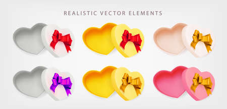 Set of Valentine empty Boxes heart with red, gold, pink bow on white background. Open gift box. 3d realistic vector. Collection of realistic gifts presents flat lay top view. Vector illustration.