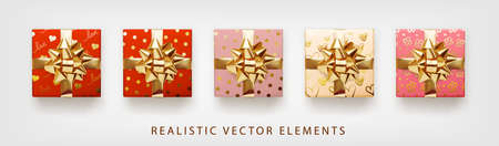 Collection of gift presents with golden foil bow. Set of 3d realistic gift boxes with pattern red, pink, beige colors.